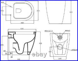 500mm Back To Wall BTW Bathroom Toilet Furniture Unit Pan Soft Close Seat White