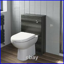 500mm Bathroom Toilet Back To Wall BTW Furniture Unit Pan Soft Close Seat Grey