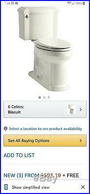 Brand new Kohler Devonshire toilet in Biscuit color with elongated seat