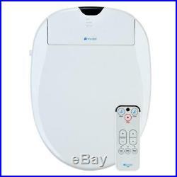 Brondell Electric Bidet Seat Modern Round Toilet Warm Water Wash Plastic White