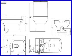 Close Coupled Bathroom Toilet Modern White Square Ceramic Soft Close Seat WC NDT