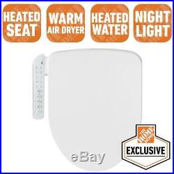 Electric Bidet Seat White Elongated Toilets Fusion Heating Light Technology