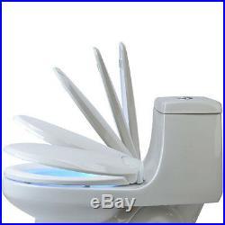 Heated Nightlight Toilet Seat Bath Blue LED Light Warm Heat Slow Close Elongated