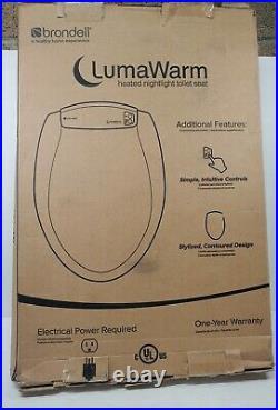 LumaWarm Heated Warm Toilet Seat Nightlight Round, White, Open Box