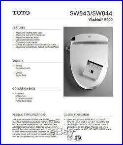 TOTO SW843#01 Washlet E200 Bidet Round Front Toilet Seat -Cotton White New