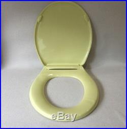(TS-08) Vintage Saffron Yellow Olsonite Toilet Seat, Hwd & Lid Round Reg. Bowl