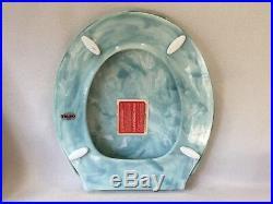 (TS-23) Vintage Regency Blue Pearl Telso Toilet Seat, Hwd & Lid Round Reg. Bowl